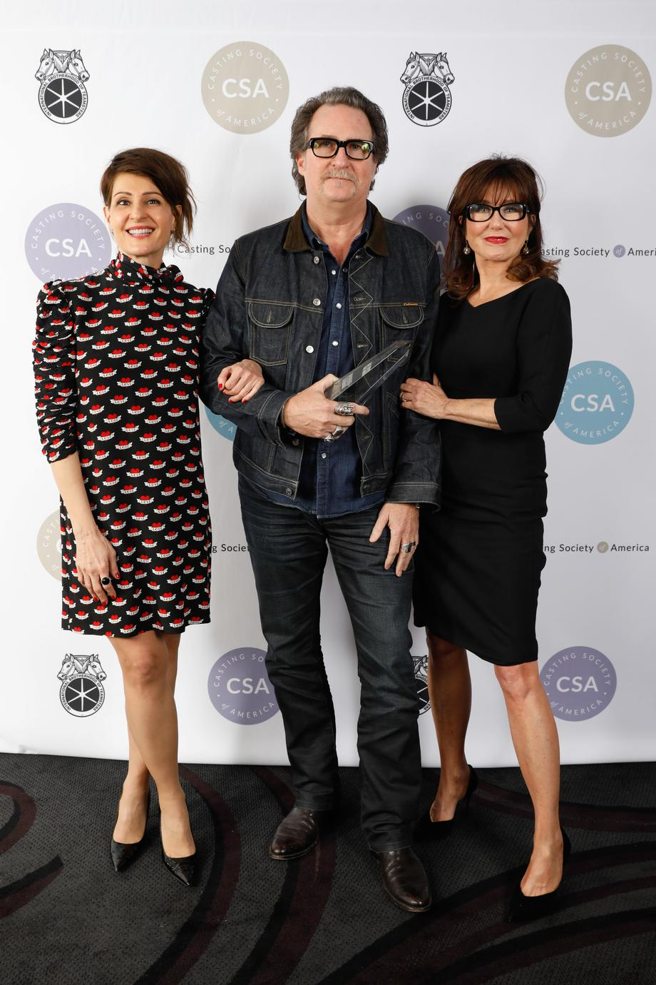 Presenter Nia Vardalos, Winner John Papsidera and presenter Mary McDonnell